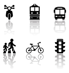 road symbols set with reflection vector image vector image