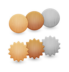 set of wood buttons isolated on white background vector image vector image