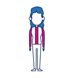 Woman character in flat style with blue hair vector