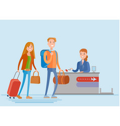 young people are check in at the airport vector image vector image