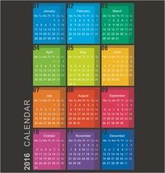 calendar 2016 week starts monday vector image vector image