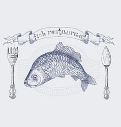 fish restaurant banner with carp vector image