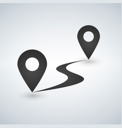 flat route icon gps distance vector image