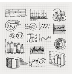 hand drawn business charts vector image vector image