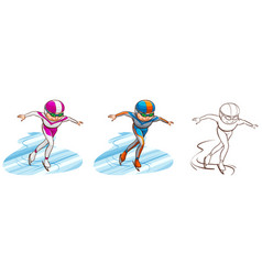 Man doing iceskate in three sketches vector