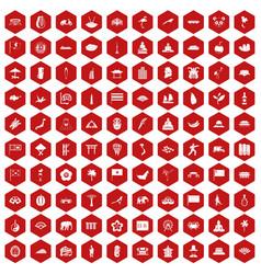 100 asian icons hexagon red vector