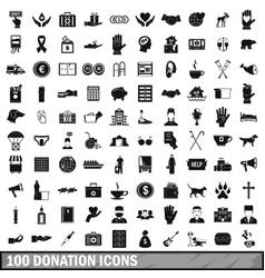 100 donation icons set simple style vector image