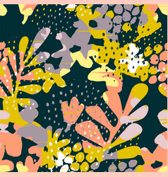 Abstract floral seamless pattern with trendy hand vector