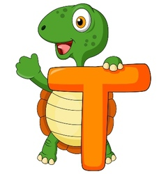Alphabet T with turtle cartoon vector