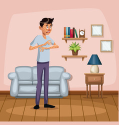 Background living room home with measles sickness vector