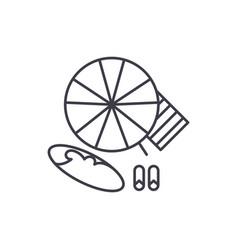 beach umbrella and swimming board line icon vector image