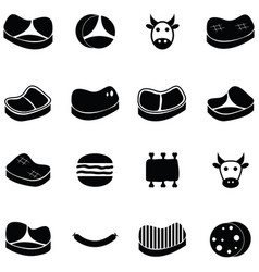 beef icon set vector image