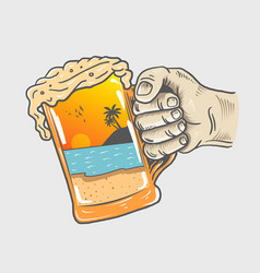 beer party hand vector image