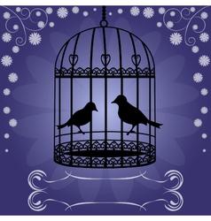 Birdcage-on-blue-floral-background vector image