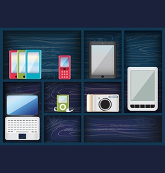 Blue shelves with assorted electronic devices vector