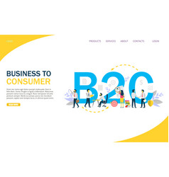 business to consumer website landing page vector image