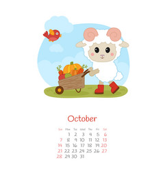 Calendar 2018 months october with sheep vector