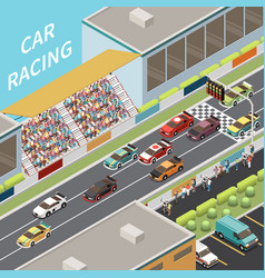 car racing isometric composition vector image