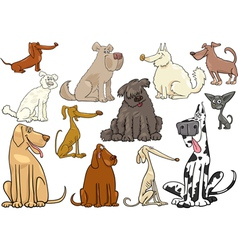 cartoon dogs or puppies big set vector image
