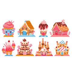Cartoon fantasy candy houses and fairy tale sweet vector