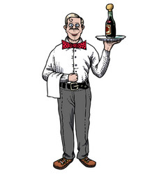 Cartoon image of waiter vector
