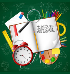 cartoon school supplies on background whiteboard vector image