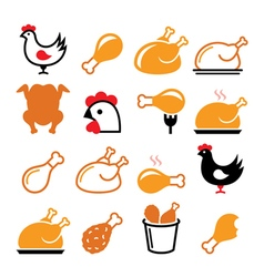 Chicken fried chicken legs food icons set vector