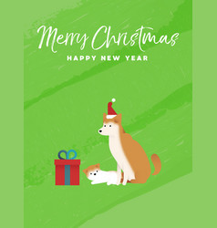 Christmas and new year holiday shiba inu dog card vector
