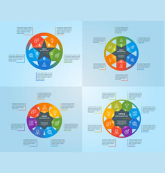 Circle infographics template set vector