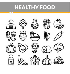 collection healthy food thin line icons set vector image