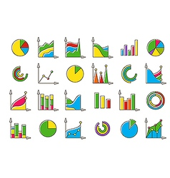 Colorful charts icons set vector