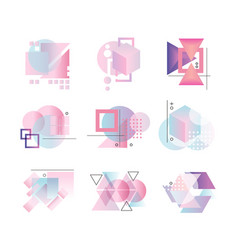 colorful geometric logo set abstract elements vector image