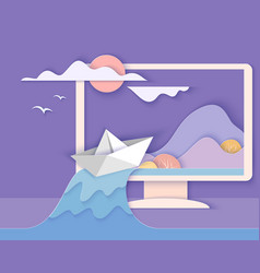 computer screen with landscape vector image