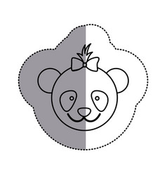 contour face bear bow head icon vector image