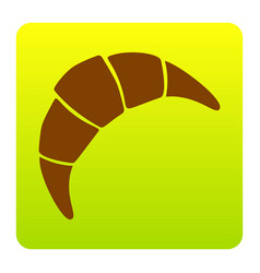 croissant simple sign brown icon at green vector image