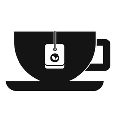 Cup of tea with tea bag icon simple style vector