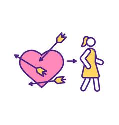 Cupid arrow hit woman heart rgb color icon vector