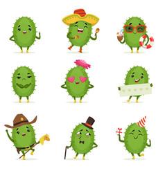 Cute cactus cartoon characters set cacti vector