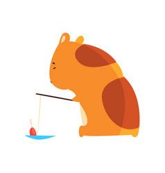 Cute cartoon hamster character fishing funny vector