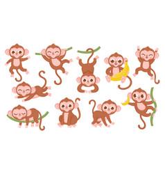 Cute cartoon jungle baby monkey character poses vector