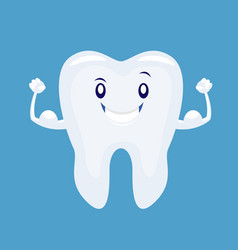 cute cartoon strong tooth vector image