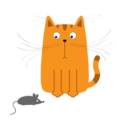 Cute red orange cartoon cat looking at mouse Big vector image