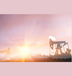 dark silhouette drilling rig and pump during vector image