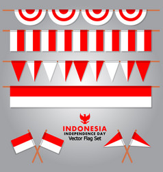 Decorative indonesia flag set for independence vector