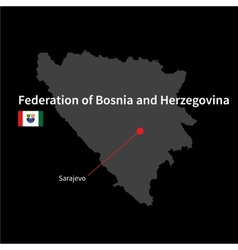 Detailed map of federation of bosnia vector