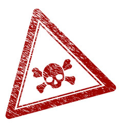 Distress textured skull death triangle stamp seal vector