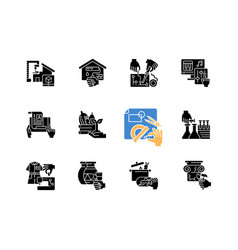 diy black glyph icons set on white space vector image