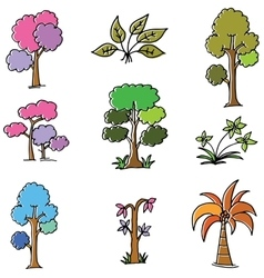 Doodle of tree style collection vector
