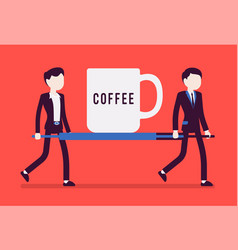 emergency coffee cup on stretcher vector image