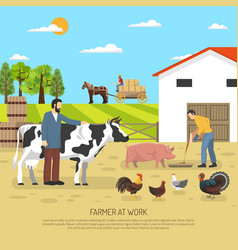 Farmer at work background vector